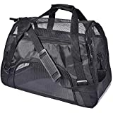 PPOGOO Large Pet Travel Carriers 20.9x10.2x12.6 22lb(10KG) Soft Sided Portable Bags Dogs Cats Airline Approved Dog Carrier,Black,Upgraded Version