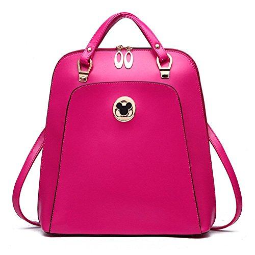qckj Fashion Croce Corpo Borsa a tracolla donna in PU Zaino rosa rosso