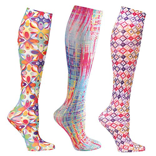 Women's Mild Compression Wide Calf Knee High Support Socks – Colorful Prints – 3 Pair