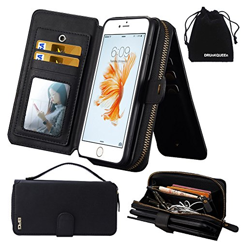 iPhone 6s Plus Case, iPhone 6 Plus Case, Premium Zipper Wallet Leather Detachable Magnetic Case Purse Clutch with Black Flip Credit Card Holder Cover for iPhone 6Plus