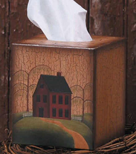 Tissue Box Cover - Primitive House / Home with Weeping Willow Tree - Perfect for Primitive and Country Decorating - Country Tissue Boxes