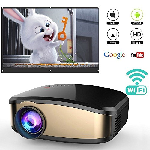Wireless Wifi Projector for iPhone Android Smartphone, WEILIANTE Portable Mini LED Movie Video Projector Support Full HD 1080P With HDMI USB SD VGA AV for Home Cinema TV Laptop, Upgraded by WEILIANTE