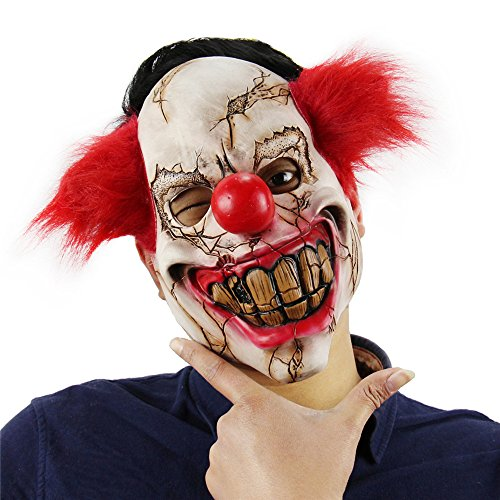 Novelty Halloween Latex Clown Mask with Hair for Adults,Halloween Costume Party Props Masks