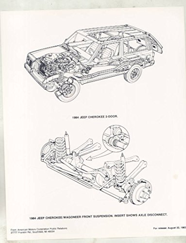 Cherokee Suspension (1984 Jeep Cherokee Wagoneer Front Suspension ORIGINAL Factory Photograph)