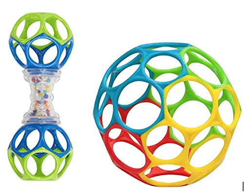 Oball Classic Ball + Shaker Rattle/Teether - Set of 2 Baby Toys