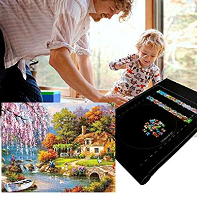 Jigsaw Puzzle Mat Roll Up Set-Jigroll Up to 1500 Pieces Puzzle Saver Large Puzzles Board for Adults Kids-Preserve Your Finished Puzzle (Black): Toys & Games