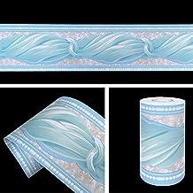 SimpleLife4U Blue Bowknot Pattern Removable Wallpaper Border Self Adhesive Stciker Kitchen Bathroom Wall Decor