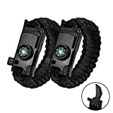 Multifunctional Bracelet Gear Emergency Paracord Bracelets Sahara Sailor Outdoor Survival Kit W Compass Flint Fire Starter Scraper Whistle for Hiking Camping Emergency More