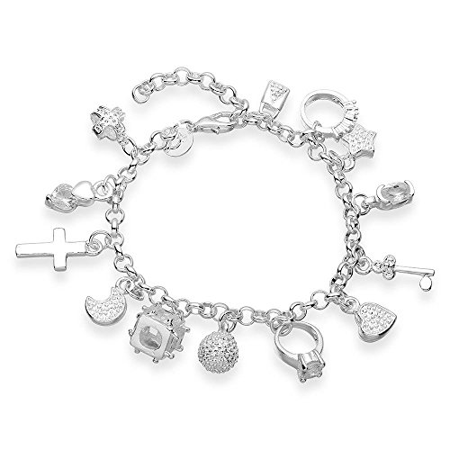 Multi-Elements Charm Beads Link Bracelet with Lock Key Star Diamond Ring Cross Criss Moon Locket ()