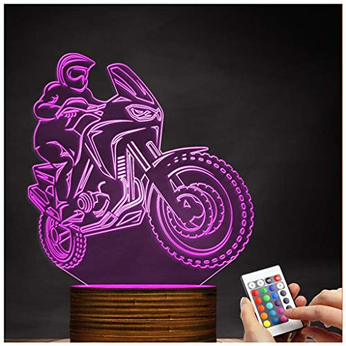 Novelty Lamp, 3D LED Lamp Optical Illusion Motorcyclist Night Light, USB Powered Remote Control Changes The Color of The Light Birthday Gift Decoration Baby Boy Girl Child,Ambient Light by LIX-XYD (Image #9)
