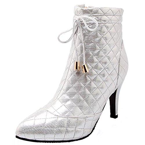 AIYOUMEI Damen Stiletto High Heels Stiefeletten mit Schnürung und 8cm Absatz Herbst Winter Elegant Kurzschaft Stiefel Silber