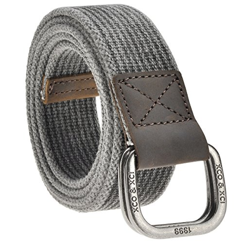 Faleto Mens 53.5'' Double D-Ring Canvas Web Belt Military Casual Belt with Box,#02 Black