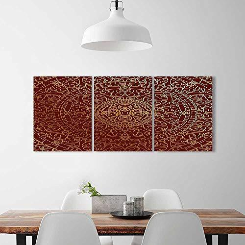 mbination Frameless Arabic Artwork Oriental Mandala Inspired Round Ornament Moroccan Ethnic Gold Maroon Restaurant Bedroom Painting ()