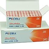 (48 Pcs Combo Pack) PKCELL 24 Pcs AA + 24 Pcs AAA 1.5V Alkaline Batteries