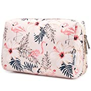 Large Makeup Bag Zipper Pouch Travel Cosmetic Organizer for Women and Girls (Beige Flamingo, Large)