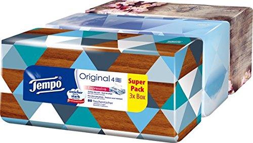 Tempo Taschentücher Trio-Box,  3 x 80 Tücher (240 Tücher)
