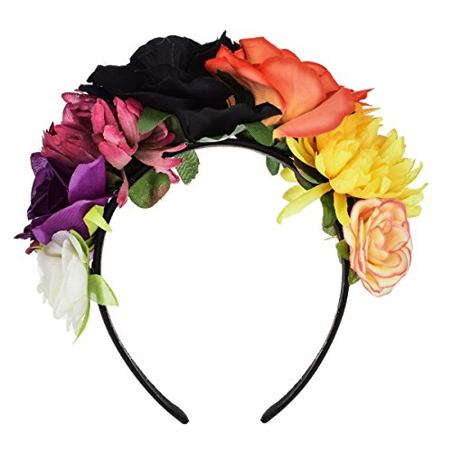 Floral Fall Day of The Dead Flower Crown Festival Headband Rose Mexican Floral Headpiece HC-23 (Black Orange)]()