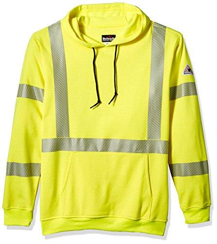 Bulwark Men's Hi-Visibility Pullover Hooded Fleece Sweatshirt-Big/Tall, Yellow/Green 4X-Large