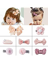 SOMIER 8pcs Bow-knot Hair Clip Set Ribbon Hair Accessories Princess Hair Barrettes Ornament Headdress Set for Little Girls Baby Kids Toddlers