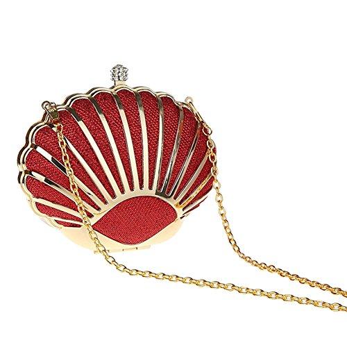 Genda 2Archer Mini bolso Hermoso del Fiesta de Tarde del Seashell Bolso del Embrague de las Mujeres Rojo