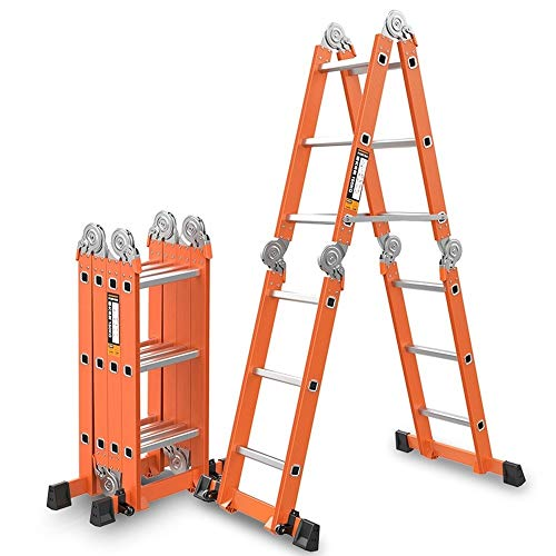 KTYXDE Multi-Function Folding Ladder 6-in-1 Extended Ladder Aluminum Alloy Platform Retractable Scaffold Trapezoidal Telescopic Ladder, Bearing 330lbs Step Stool (Color : 1.8+1.8=3.6M(11.8ft))