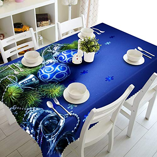 RubyShopUU Meijuner Customize Tablecloth Colored Floral Bat Pattern Dust-Proof Thicken Rectangular Table Cloth for X-mas Halloween Decor ()