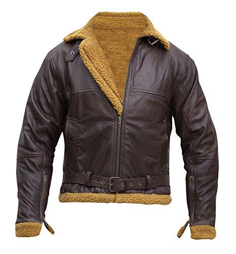 - B3 Ginger Mens Flying Aviator Winter Shearling Fur Pilot Sheepskin Bomber Leather Jacket