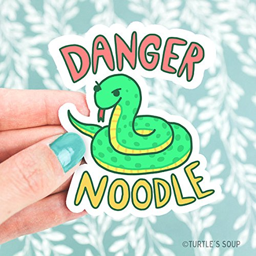 Serpent Art, Snake Vinyl Sticker, Danger Noodle, Funny Pun, Cute Green Snake, Snake Decal, Snake Art, Snake Illustration, Laptop Decal, Cars