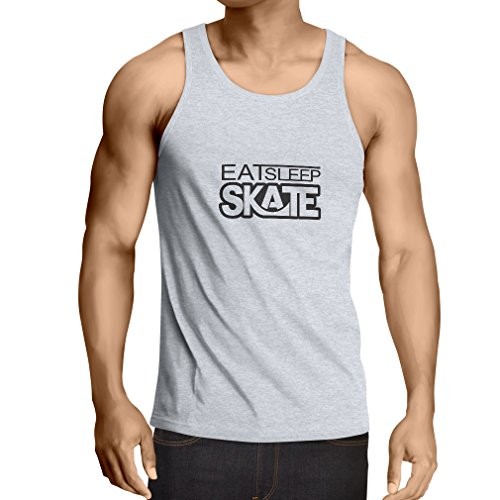 Vest Eat Sleep Skate - for Skaters, Skate Longboard, Skateboard Gifts (Small White Black)
