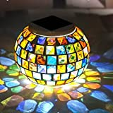Solar Powered Mosaic Glass Ball Garden Lights, Color Changing Night Light Rechargeable Table Lamps Waterproof Indoor or Outdoor Lighting for Decoration by Dream Loom (Colorful) For Sale