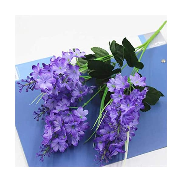 MARJON Flowers5 Heads Artificial Flower, Fake Silk Hyacinth for Home Garden Party Wedding Decoration 2PCS,Lightpurple