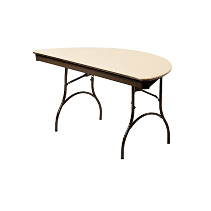 Perfect MityLite ABS Plastic 60u0026quot; Half Round Folding Table   Beige ...