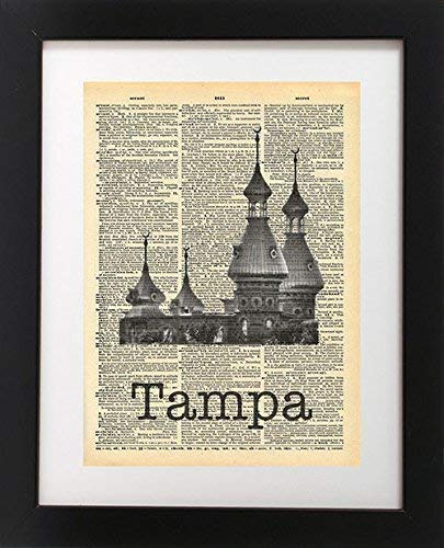Tampa Minarets Hotel - Vintage Dictionary Print 8x10 inch Home Vintage Art Abstract Prints Wall Art for Home Decor Wall Decorations For Living Room Bedroom Office Ready-to-Frame