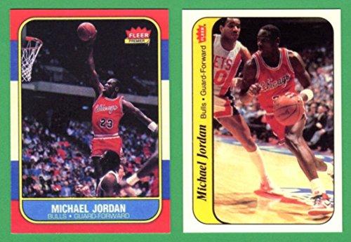 Michael Jordan 1986 Fleer Basketball Rookie Reprint Card and 1986 Fleer Rookie Sticker Basketball Rookie Reprint Cards (Bulls) ()