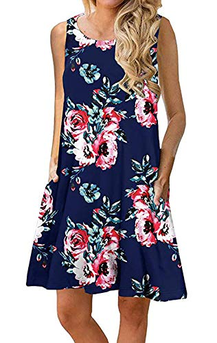 - Silvous Ladies Dresses Midi with Pockets Casual Summer Dresses (Navy Blue 2 S)