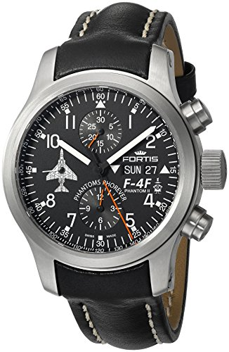 Fortis Men's 635.10.91 L.01 F-4 Phantoms Phorever Analog Display Automatic Self Wind Black Watch