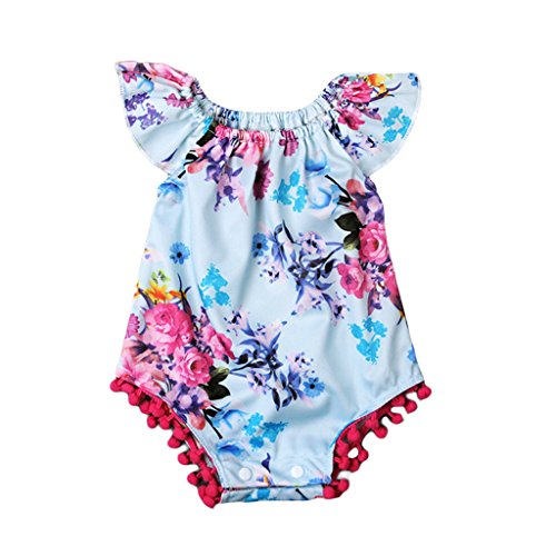 [MIOIM Newborn Baby Girls Fly Sleeves Floral Printed Romper Sunsuit Outfits] (Smocked Zoo)