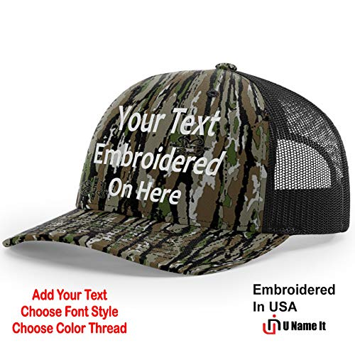(Custom Richardson 112 Hat with Your Text Embroidered Trucker Mesh Snapback Cap (Adjustable Snapback Realtree Colorway, Realtree Original/Black))