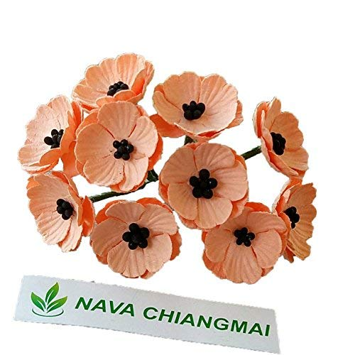 NAVA CHIANGMAI Poppies Mulberry Paper Flower,Poppy Flower for Scrapbooking Wedding Doll House Supplies Card,DIY Crafts,Artificial Mulberry Paper Flowers Wedding Home Decoration. (Orange) ()