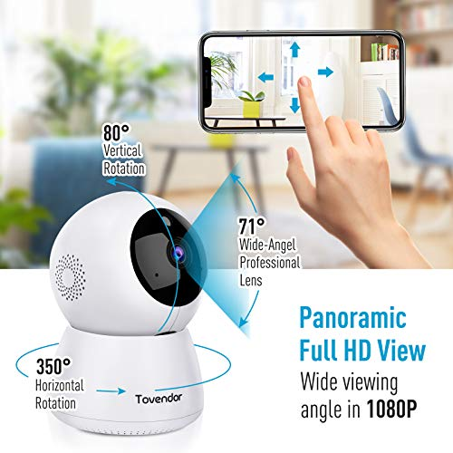 Tovendor IP Camera WiFi 1080P, Pan Tilt Zoom Dome Camera, Home Security System with Night Vision, Motion Detection, 2 Way Audio For Surveillance Elder Pet Office Baby Monitor – Cloud Service
