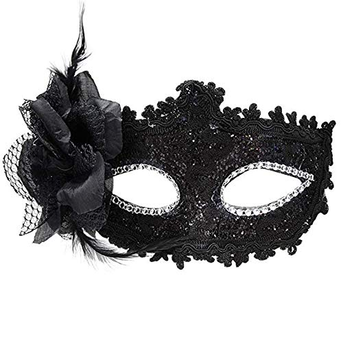 30s Masquerade Mask Made of Leather and Plastic Beautiful Decorated with Beads, Glitter, Lace, Feather or Flower,Very Delicate Build Intrigue Around Your Hidden Identity with This Elegant Lace Mask -
