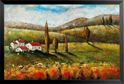 Buyartforless Framed Vineyard Villa I by Antonio 24x36 Art Print Poster Tuscan Landscape Italian Countryside Trees Vineyard Wine Red White House