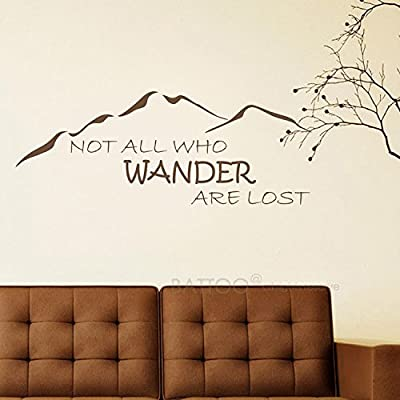 "BATTOO Not All Who Wander are Lost Wall Decal Mountain Vinyl Sticker 40"" W 15.5"" H Family Kids Room Mural Motivation Love Home Travel Hobbit, Dark Brown: Home & Kitchen"