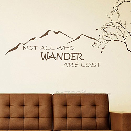 BATTOO Not All Those Who Wander Are Lost Wall Decal Quote J.R.R. Tolkien Vinyl Wall Decal Sticker 30'' W 11.5'' H Adventure Wall Decor Travel Wall Decals, Dark Brown by BATTOO