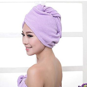 e5ceb26d1be Amazon.com : Superfine Fiber Bath Hair Dry Hat Shower Cap Soft Strong Water  Absorbing Quick Dry Head Towel Cap Hat For Bathing - Purple : Beauty