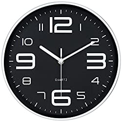 45Min 10-Inch 3D Number Dial Face Modern Wall Clock, Silent Non-Ticking Round Home Decor Wall Clock with Arabic Numerals, 7 Colors(Black)