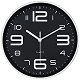 arabic numbers - 45Min 10-Inch 3D Number Dial Face Modern Wall Clock, Silent Non-Ticking Round Home Decor Wall Clock with Arabic Numerals, 7 Colors(Black)