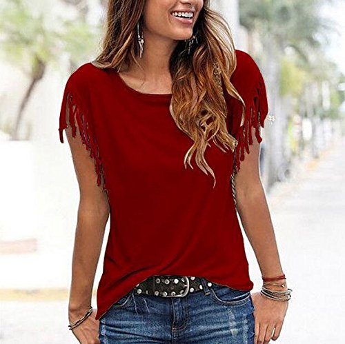 Red D't Gilet Sans Manches shirt Femme Rond Femme Col Dark Chemisier Huyizhi Chic Blouse Causal T Tops aYwPdqdn
