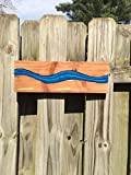 Blue epoxy river cedar wood wall art, mixed media art, resin river wall hanging, rustic home decor, man cave