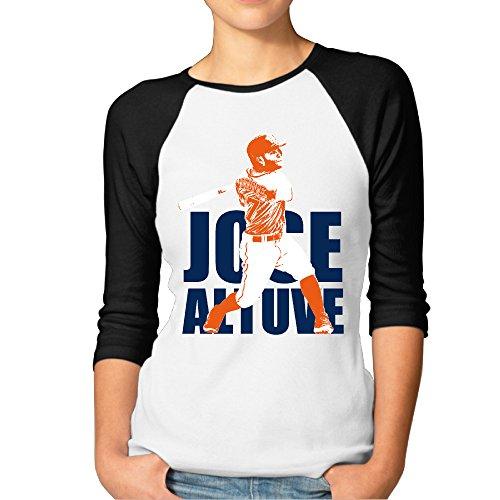 ^GinaR^ Women Middle Sleeve Jose Altuve3 Comfortable Bottoming Shirt L